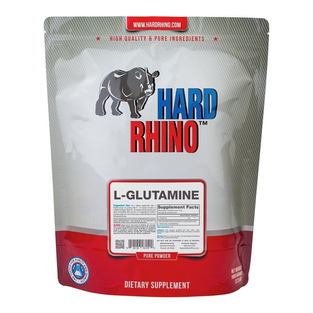 Hard Rhino L-Glutamine Powder, 1 Kilogram (2.2 Lbs), Unflavored, Lab-Tested, Scoop Included by Hard Rhino
