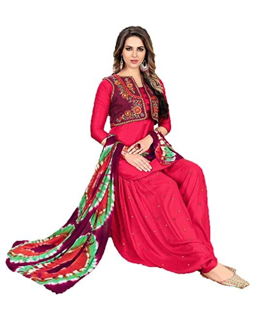 1b6469841c Mahantam Designer Women's Cotton Embroidered Work Patiyala Suit  (PYS352ST26605,Pink,Free Size): Amazon.in: Clothing & Accessories