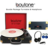 Boytone Bundle Package BT-101TBBK Turntable Briefcase Record player with headphone, AC-DC Built in Rechargeable Battery, 2 Speakers, 3 Speed, LCD Display, FM Radio, USB/SD Slot, AUX, 110 To 220 Volt