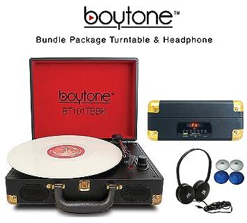 Amazon.com: boytone Bundle Paquete bt-101tbbk Tocadiscos ...