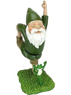 Gnomo Zen y Rana Zen – Postura Señor de la Danza – Paz y Tranquilidad para tu Jardín de Hadas y Jardín de Gnomos de GliztGlam. Figurita de Gnomo en Miniatura Talla