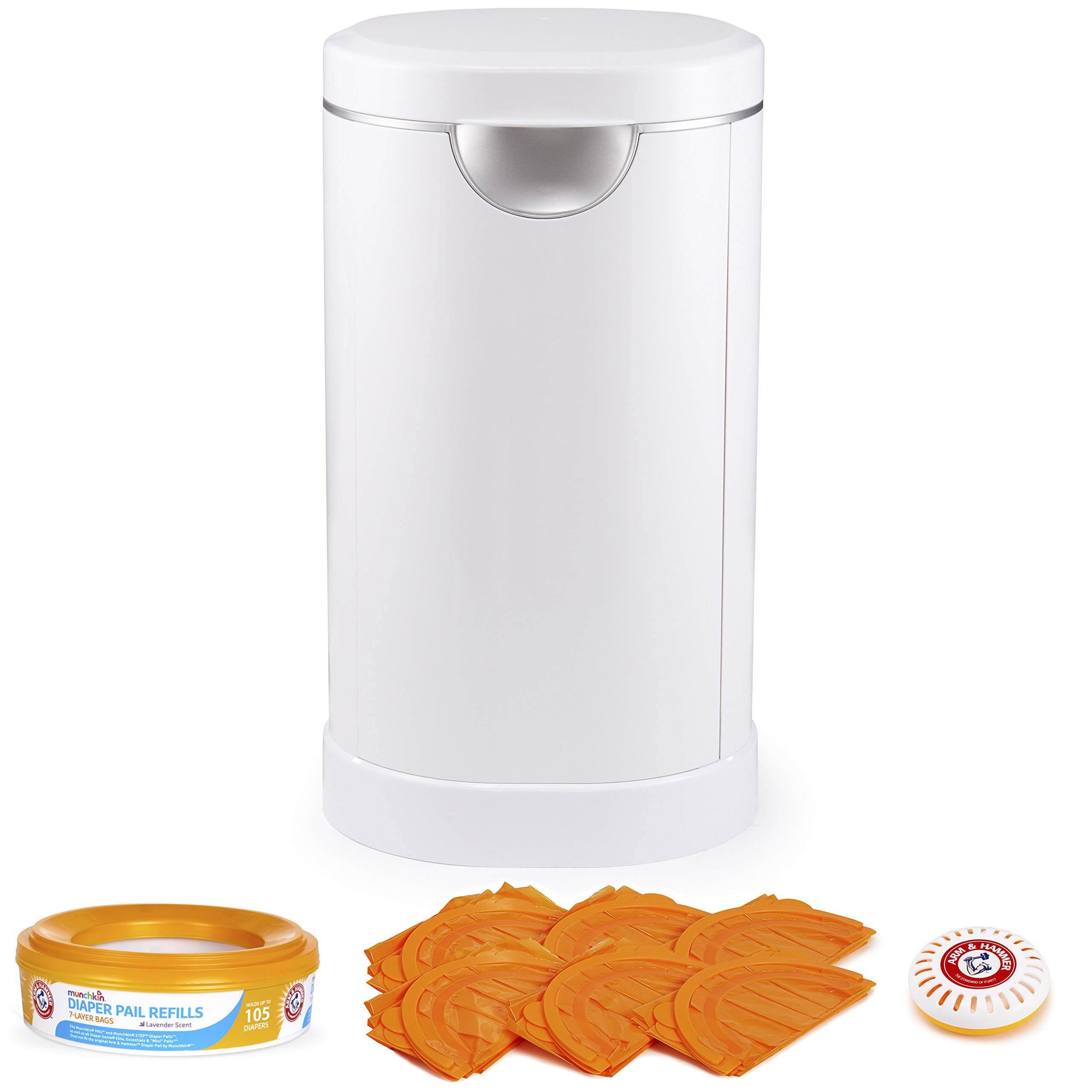 Munchkin Diaper Pail Baby Registry Starter Set, Powered by Arm and Hammer, Includes 1 Month Refill Supply and Baking…