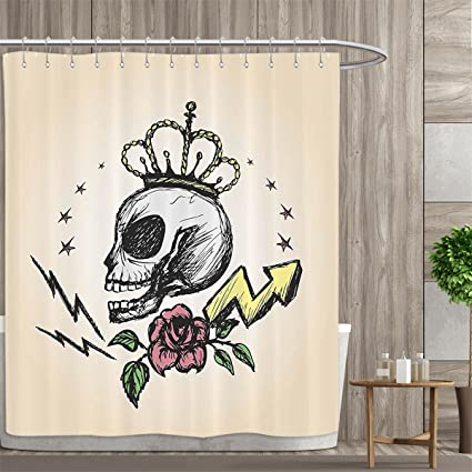 Mannwarehouse Skull Decor Shower Curtains 3D Digital Printing Mexican Folk Art Inspired Skeleton With Crown And