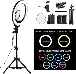 10.2'' Selfie Ring Light with Stand and Phone Holder, LTRINGYS Led Ring Light with 7 RGB Flash Lights Desktop Dimmable Make Up Light Ring Mirror for Phone,Camera,YouTube, Video, Vlog US Plug