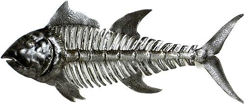 Global Crafts Recycled Handmade Haitian Metal Wall Art  Fish Bones