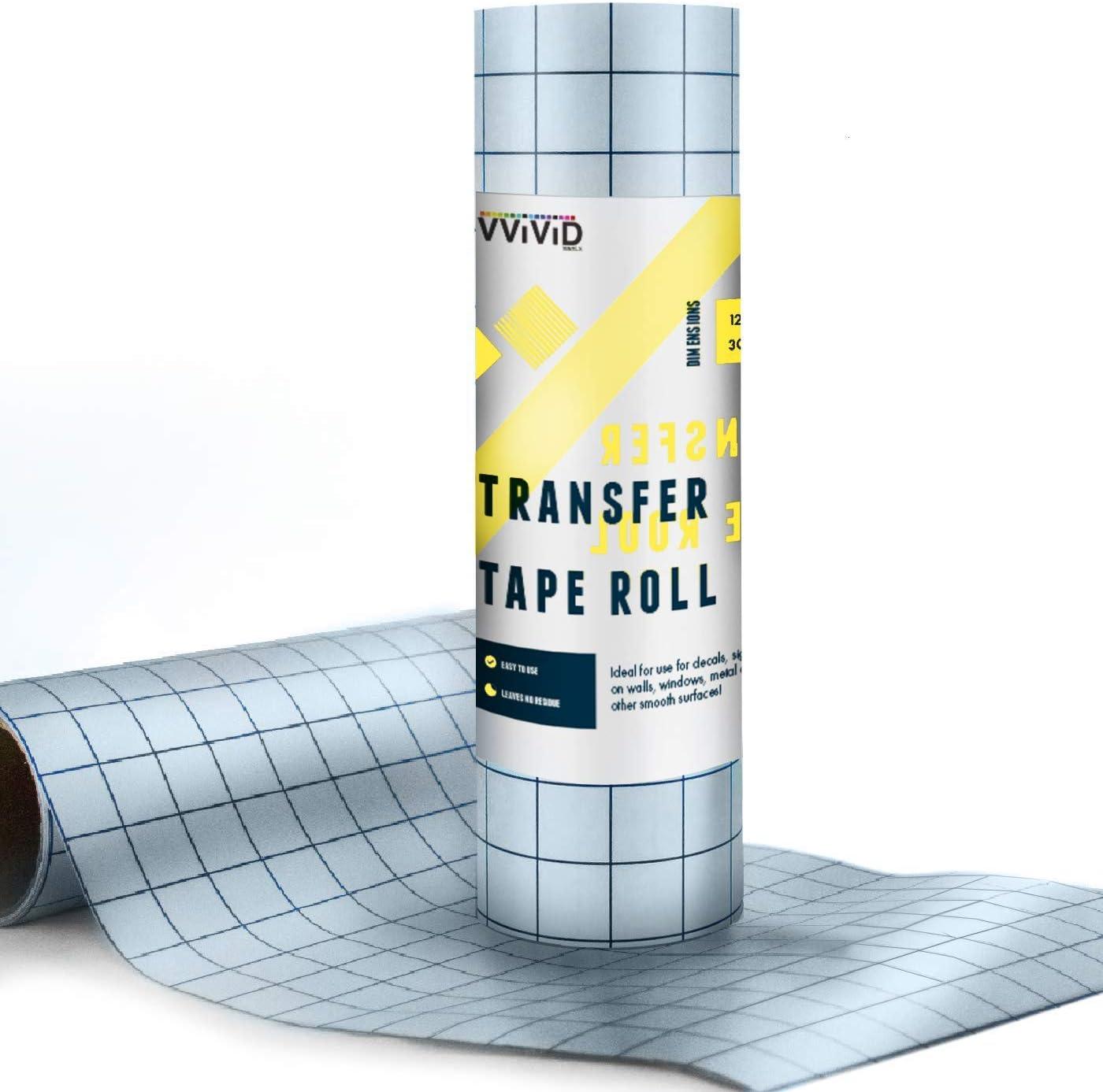 VViViD Transparent Medium Tack Vinyl Transfer Roll w//Grid for Signage 7ft x 12in Crafts /& Decals