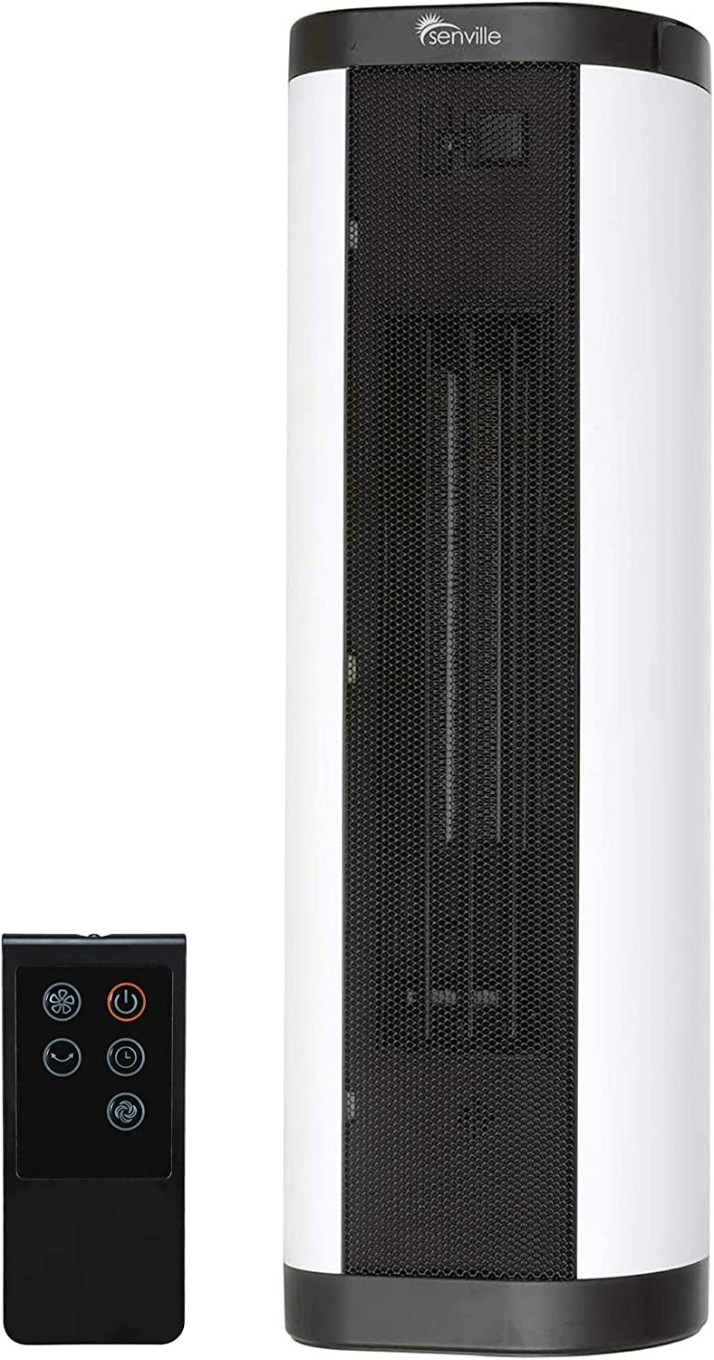 Senville 900W/1500W Tower Ceramic Heater with Remote, Digital Thermostat, Overheat Protection