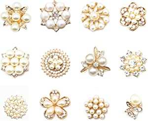 12pcs Pearl and Clear Crystal Rhinestone Mixed Kits for Wedding Invitation Brooch DIY Bouquet Decor (Golden Tone)