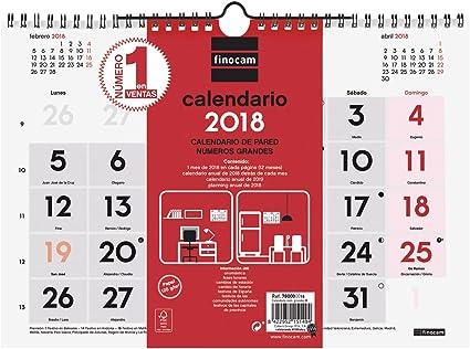 Finocam Neutro - Calendario de pared 2018, números grandes ...