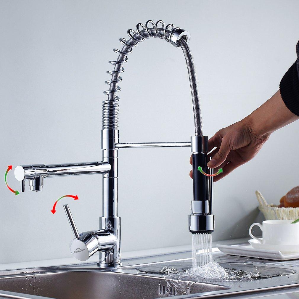 Auralum® Brass Kitchen Sink Taps Spring Pull Out Mixer Tap 360 ...