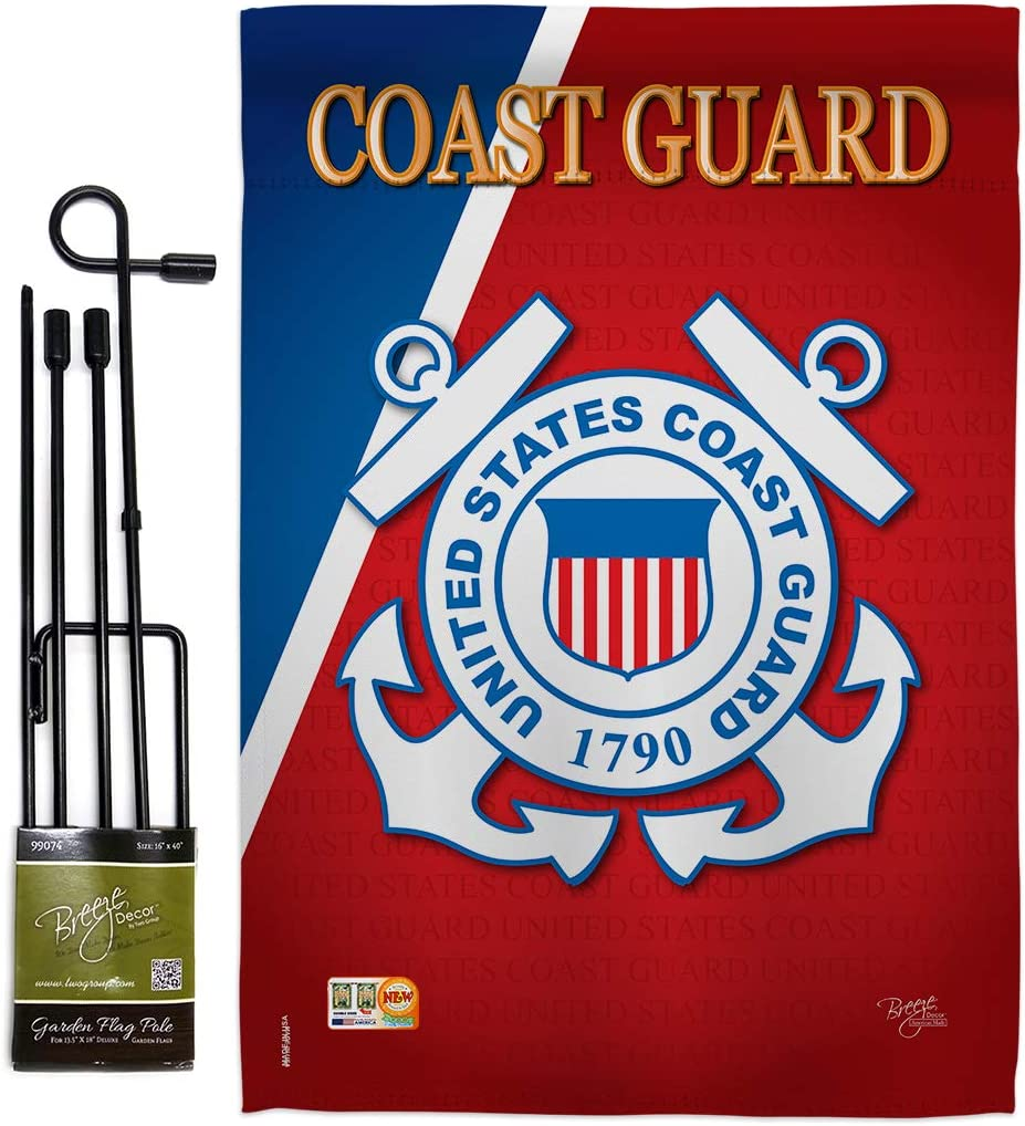 "Breeze Decor Coast Guard Americana Military Veteran Decorative Gift Vertical 13"" x 18.5"" Double Sided Garden Flag Set Metal Pole Hardware Made in USA"