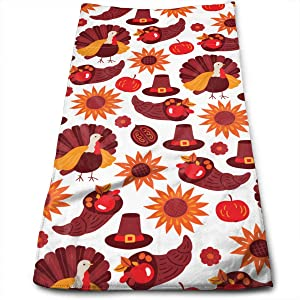 Yellow Sunflower Hat Red Apple Hand Towels for Bathroom,Swimming,Yoga,Gym Soft Absorbent Microfiber Unisex 27.56 X 11.81 in Thanksgiving Day Turkey Orange Pumpkin Small Bath Towels