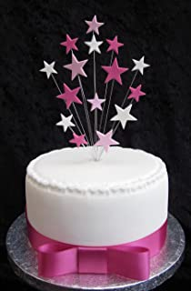 16th Birthday Cake Topper Blue Black And White Stars Suitable For