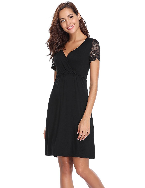 Aibrou Womens Pregnancy Maternity Dress Stretch V-Neck Nursing Breastfeeding Dress Nightgown