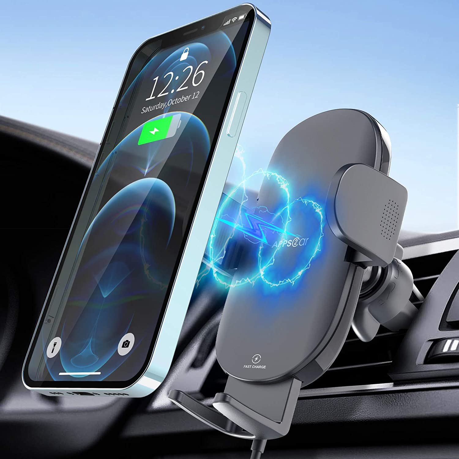 Wireless Car Charger, [2021 Upgraded] 15W Fast Charging Car Phone Holder, QC 3.0 Wireless Car Charger Mount, Air Vent Cell Phone Holder Cradle, Compatible with iPhone 12 11 XR XS, Samsung, Google, LG