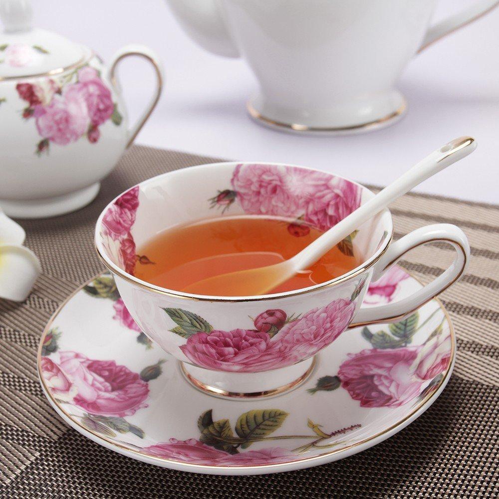 Porlien Tea Set, Rose Camellia, Porcelain Gift Set (6 teacup sets with teapot) by Porlien (Image #4)