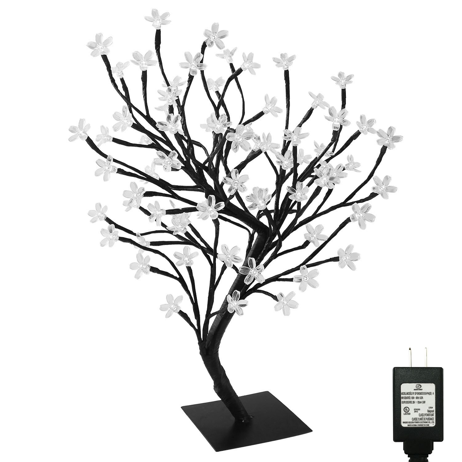Pms 17inch 72 LEDs Cherry Blossom Desk Top Bonsai Tree Light with Low Voltage Transformer, UL Listed, Ideal for Christmas, Party, Wedding, Ceremony, Celebration Decoration (Day White)