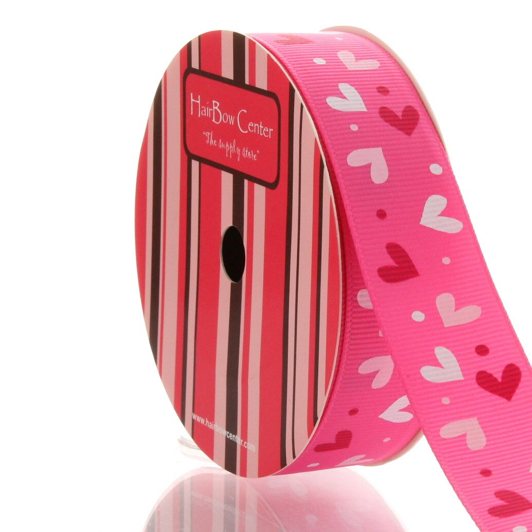 7/8'' Multi-Pink Hearts Grosgrain Ribbon 25yd