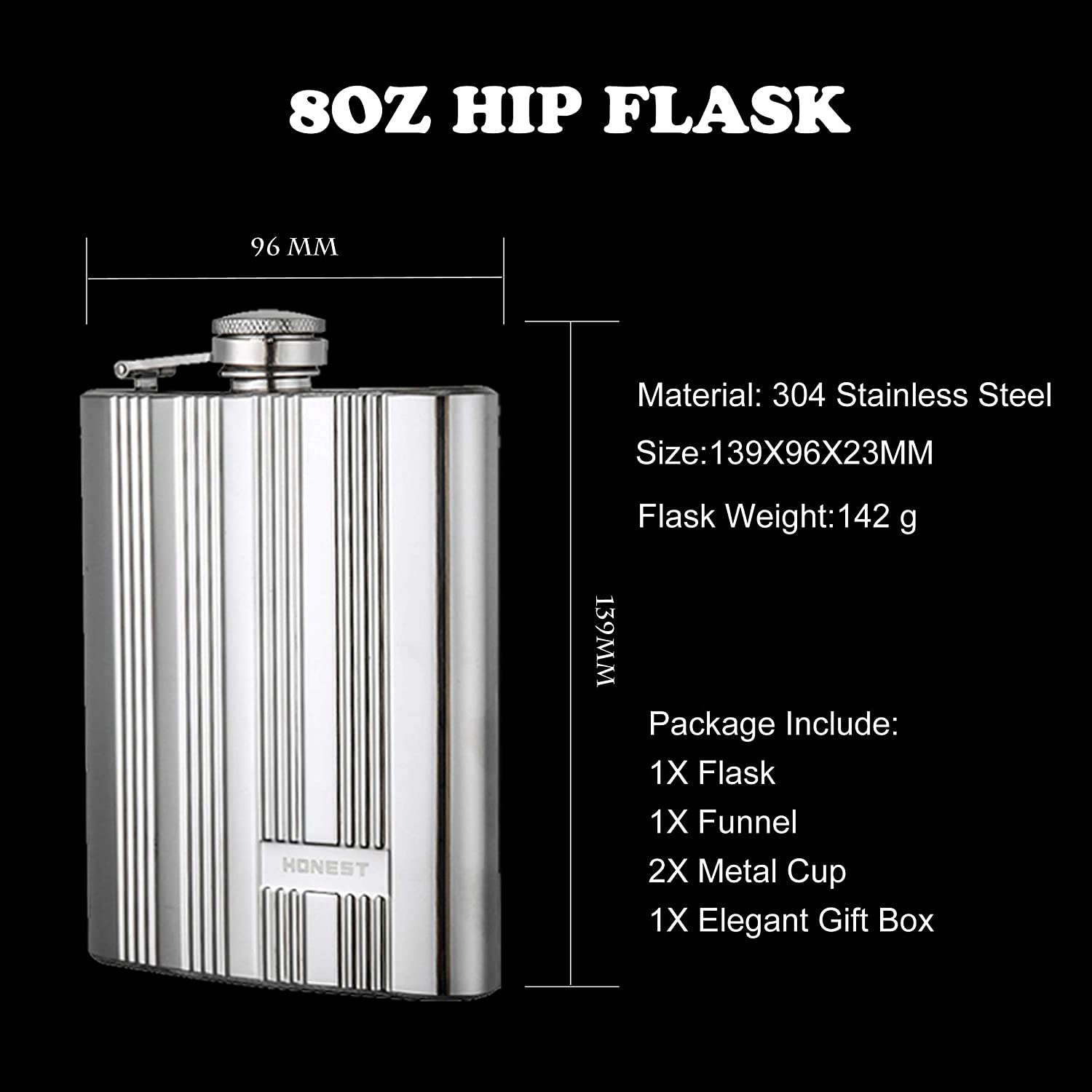 PROMISE 304 Stainless Steel Pocket Hip Flask Flask with Mirror Light Embossing Technology Funnel and Metal Cup in Gift Box Flower C