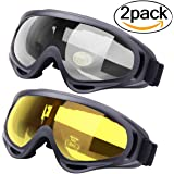 Ski Goggles, Outgeek 2-Pack Skate Glasses with UV 400 Protection Windproof and Dustproof for Snowboard Motorcycle Bicycle