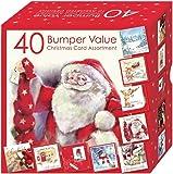 Scatola con 40 biglietti natalizi assortiti, con 10 splendidi design tradizionali, formato famiglia