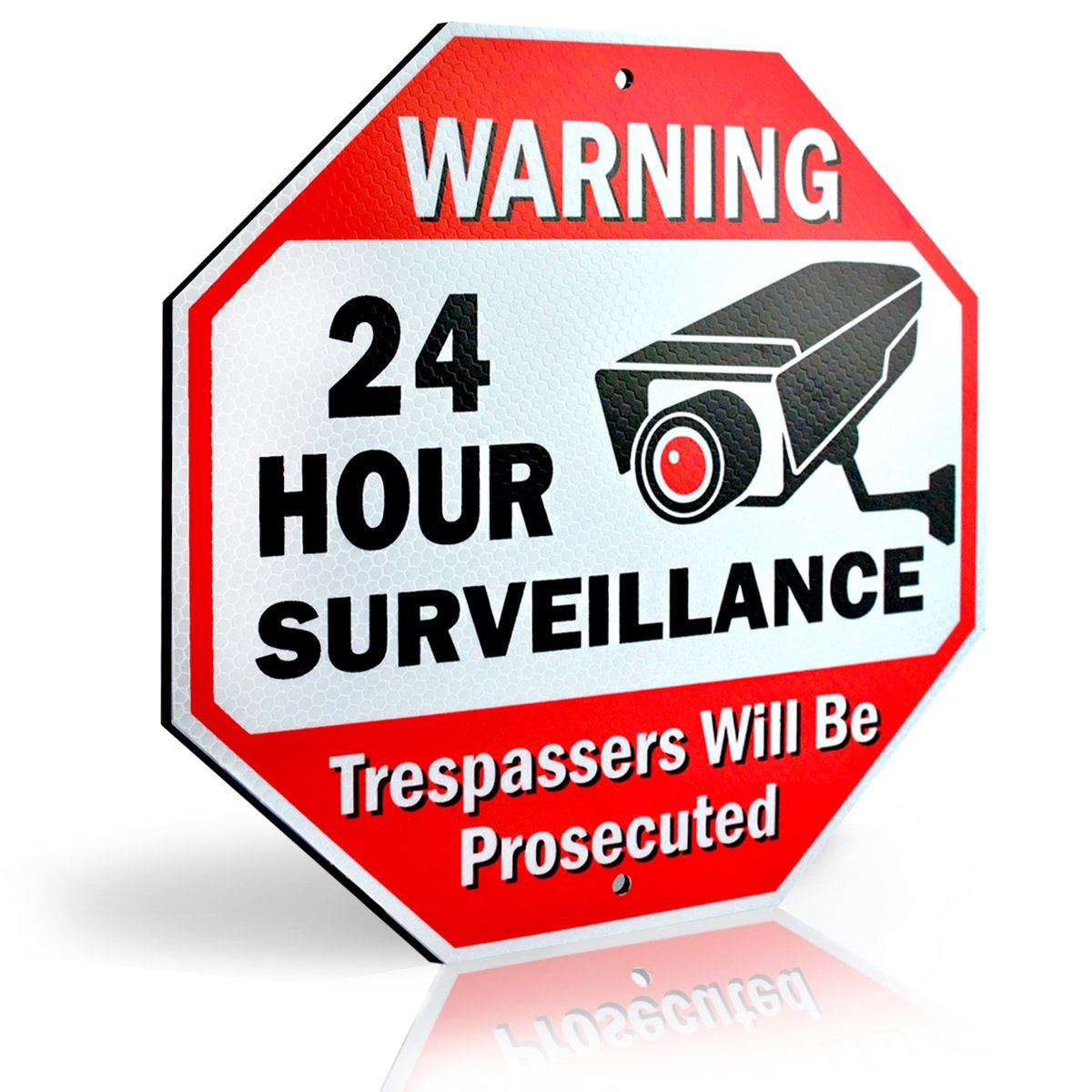 Diamond ULTRA REFLECTIVE Warning 24 Hour Surveillance No Trespassing Metal Sign | with for home business Video Security CCTV Camera | 12''L x 12''H Aluminum (12''x12'' Reflective