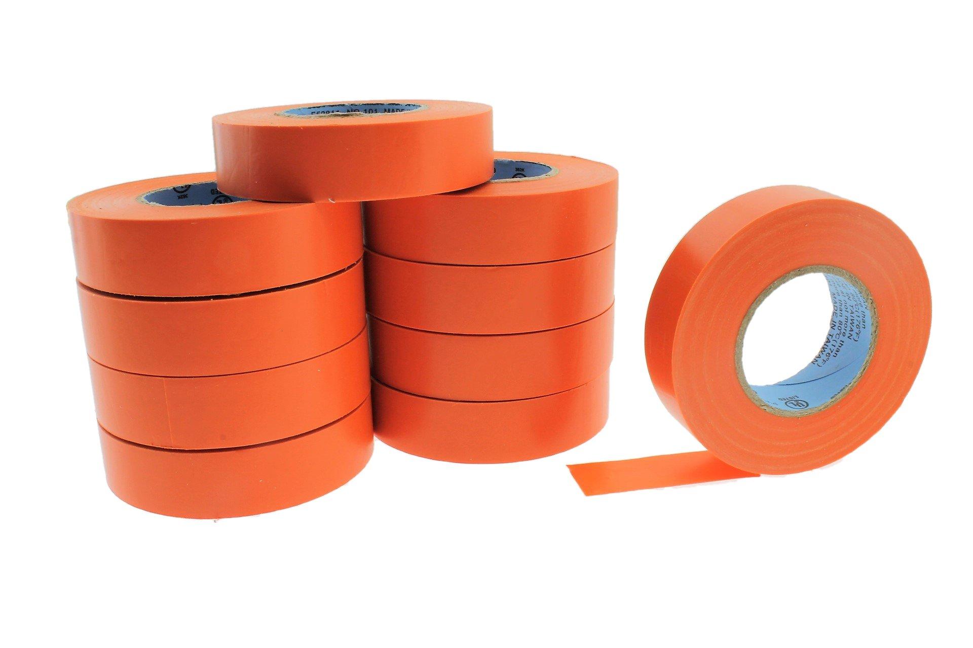 10pk 3/4'' ORANGE Electrical Tape Supreme Durable .75 Pro-Grade Wire harness PVC Vinyl Marking Labeling Coding Warning Safety Flame Retardant 60' 7 mil