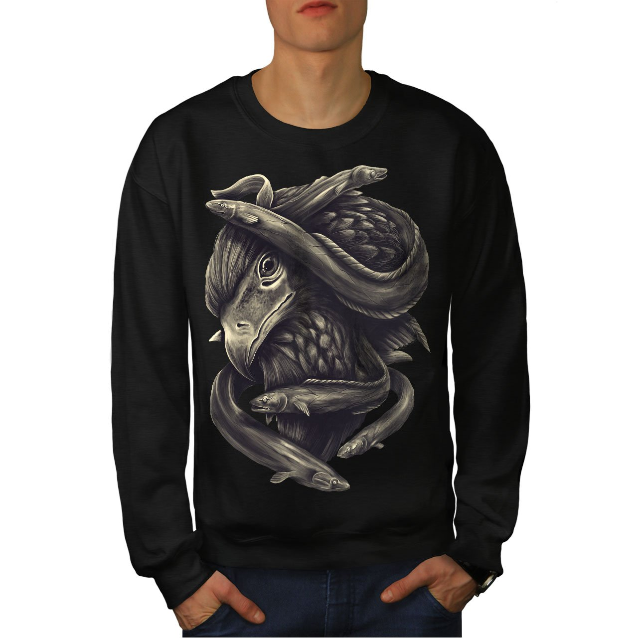 Casual Jumper wellcoda Eagle Fish Head Animal Mens Sweatshirt