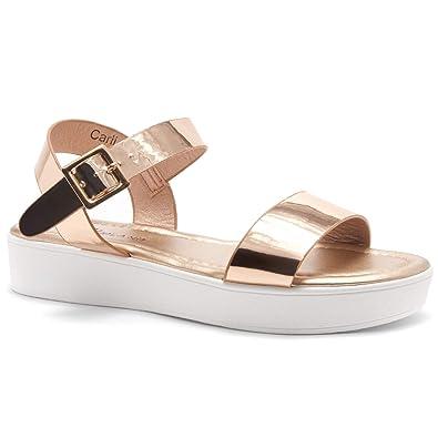 95ef4ff6eb6 Herstyle Carli Women s Open Toe Ankle Strap Platform Low Wedge Sandals Rose  Gold 5.0