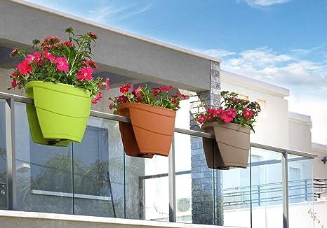 Vasi In Plastica Per Ringhiere.Best4garden Ringhiera Planter Confezione Di 6 Ideale Per