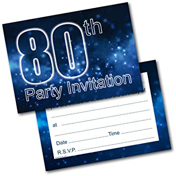 Doodlecards 80th Birthday Party Invitations Male Invites Pack Of 20 Postcards And Envelopes Amazoncouk Office Products