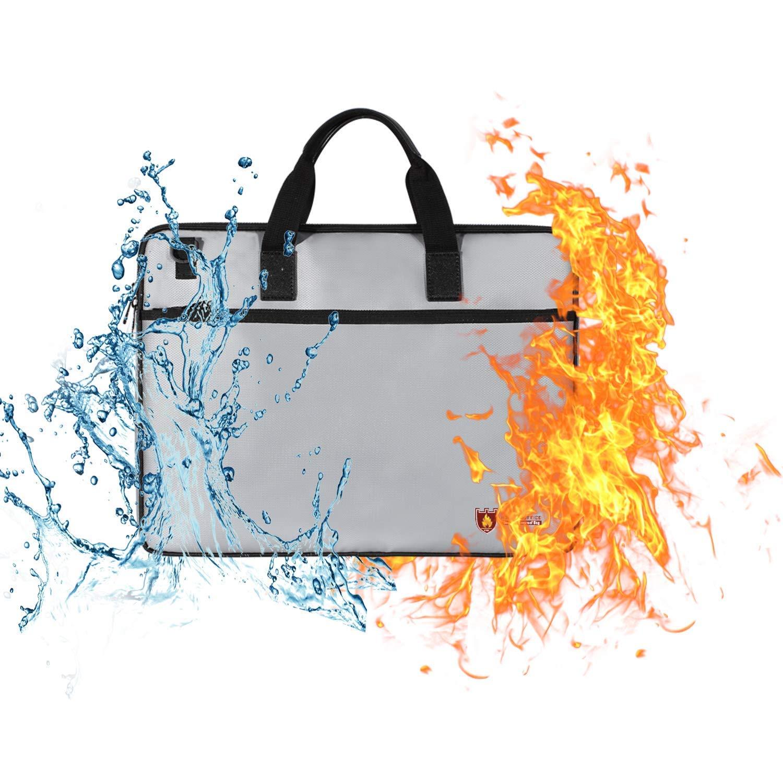 TBDLG Fireproof Document Bag,Portable Document Bag Briefcase Fireproof Waterproof Passport Money Laptop