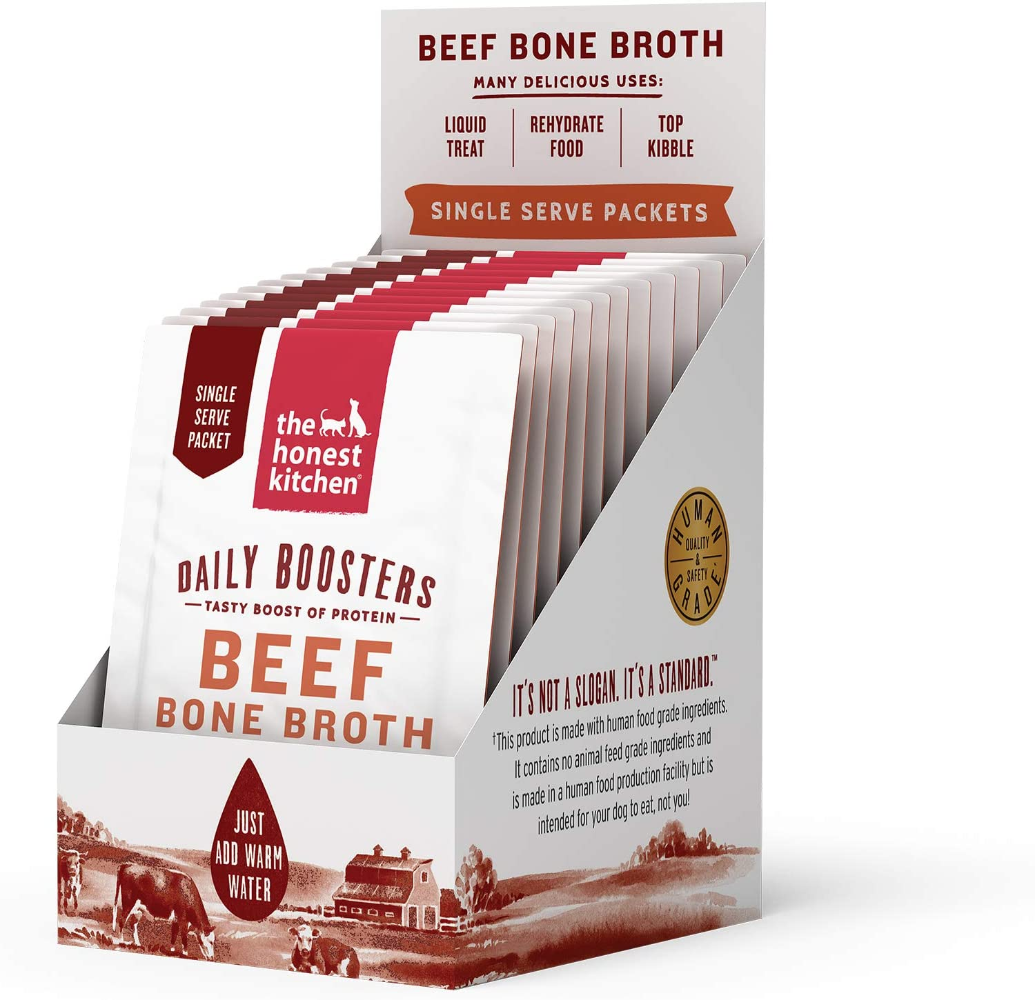 The Honest Kitchen Daily Boosts: Instant Beef Bone Broth Liquid Treat with Turmeric for Dogs and Cats, 12-Pack of 3.5g Sachets