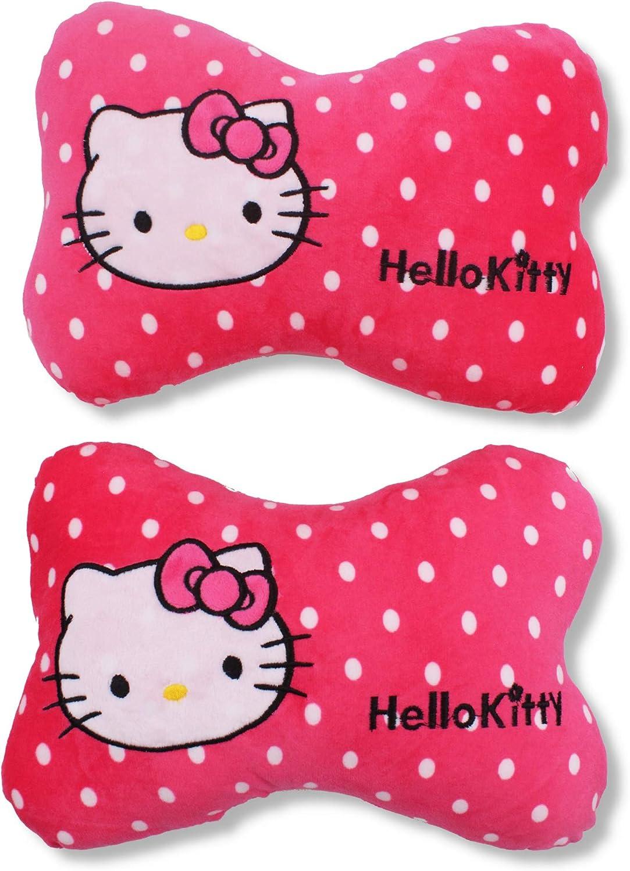 2PCS New Cute Hello kitty Pink Auto Car Headrest Cushion Car Bone Pillow Gift