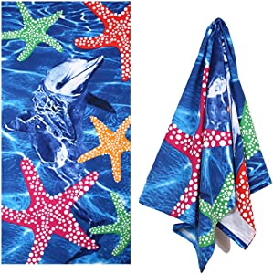 XULE Microfiber Beach Towel 30x60 inch Pool Towels Dolphin Girls Women Adults Portable Ultra Soft Super Water Absorbent Outdoor Quick Dry