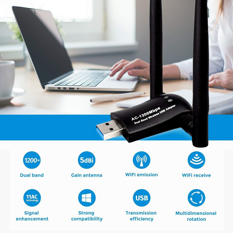 1200Mbps Wireless USB WiFi Adapter, Maxsoco WiFi Adapter,AC1200 Dual Band 802.11 ac/a/b/g/n,2.4GHz/300Mbps 5GHz/867Mbps High Gain Dual 2 X 5dBi Antennas Network WiFi USB 3.0 for Desktop (Black) by Maxsoco (Image #2)