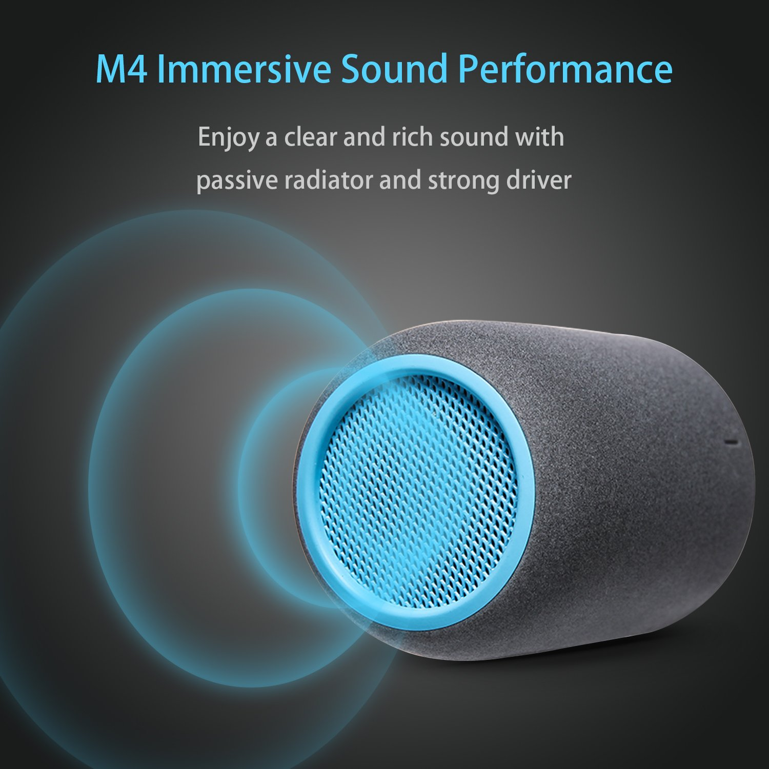 Portable Speakers, ZENBRE M4 Wireless Bluetooth Speakers for Laptop, Tablet, iPhone, Computer Speaker with Enhanced Bass Resonator (Blue) by ZENBRE (Image #4)