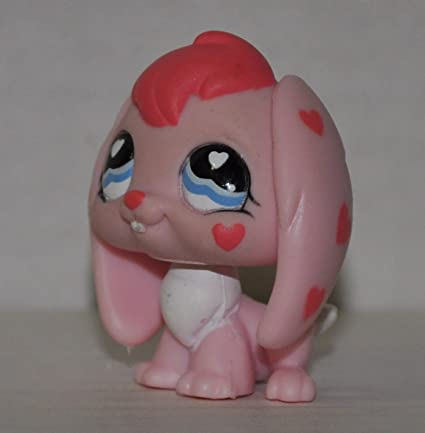 Pink, Blue Eyes, Heart on cheek Retired - Littlest Pet Shop Collector Toy LPS Collectible Replacement Figure Loose Rabbit #557 OOP Out of Package /& Print