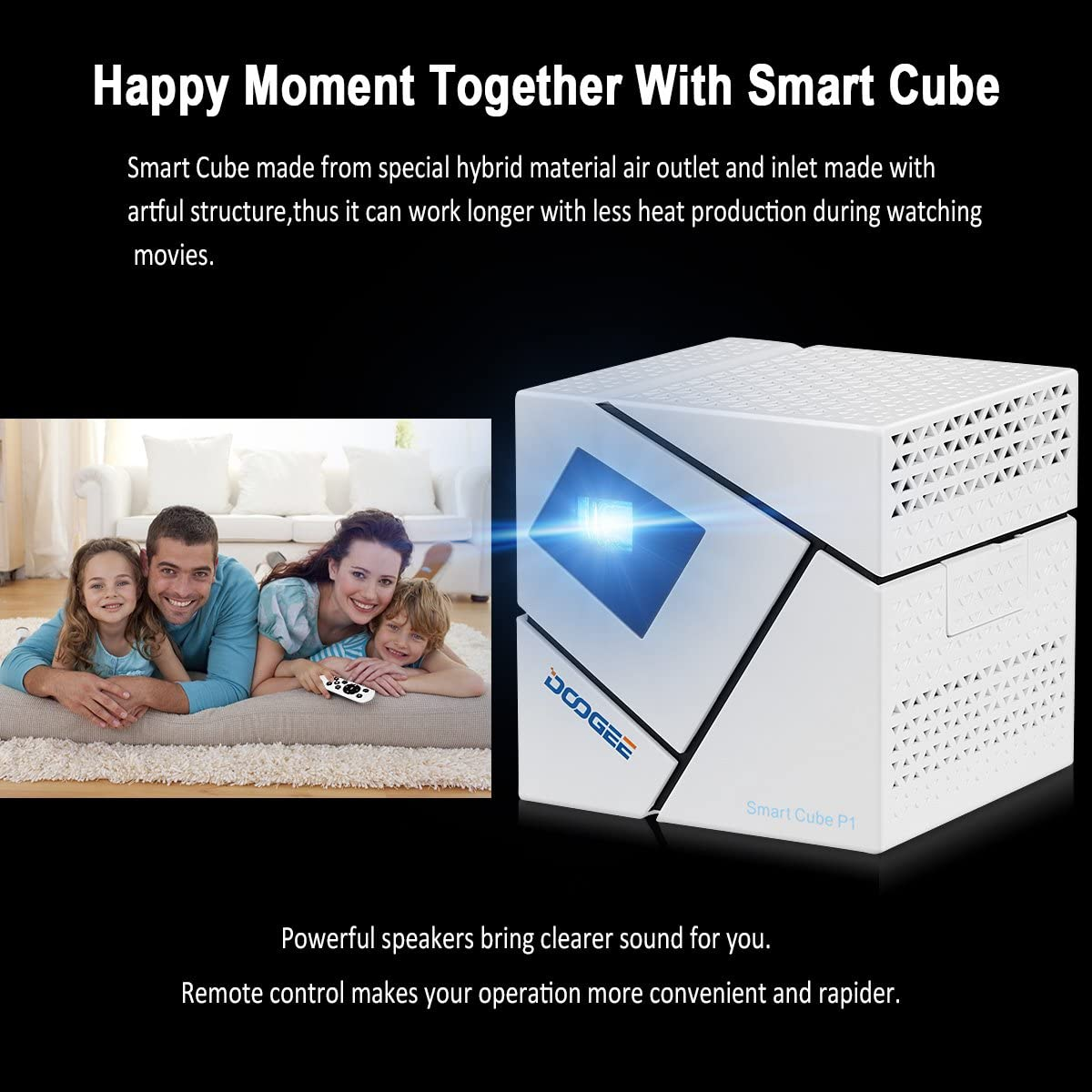 Doogee P1 - Cube Mini Proyector Smart con Multi-funcion (Teatro ...