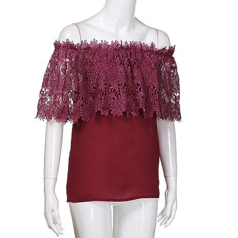 OrchidAmor Women Blouse Sexy Women Off Shoulder Casual Tops Blouse Lace Crochet Chiffon Shirt at Amazon Womens Clothing store: