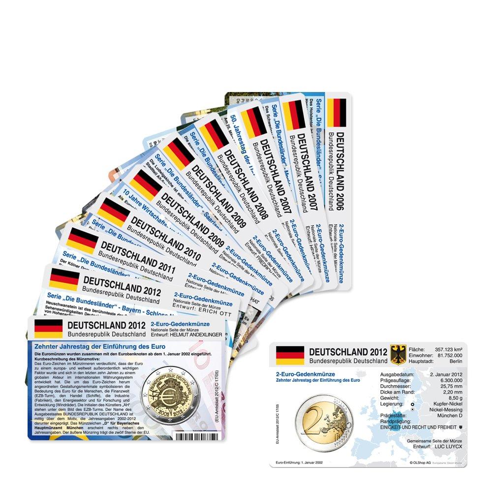 12 Münzkarten Ohne Münze Für 2 Euro Gedenkmünzen Deutschland