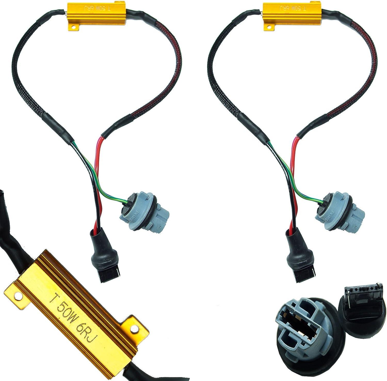 PA 2x LED 7440 7441 T20 50W 6 Ohm LED Lights Load Resistor Adapter Fix Hyper Flashing Rapid Blinking Canbus Error Code Eliminator Warning Canceller for Turn Signal Reverse Backup Daytime Running DRL