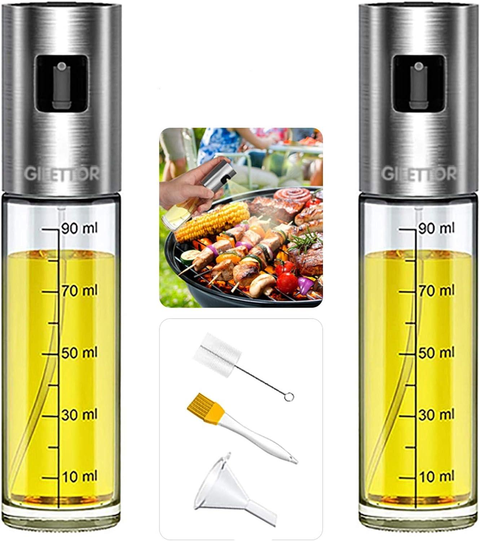 Olive Oil Sprayer for Cooking, GILETTOR Oil Vinegar Mister Dispenser Set with 100ML 3.4ounce, High Grade Glass Bottle, Stainless Steel, Sauce Pump Sprayer for BBQ, Salad, Baking, Roasting 2pack