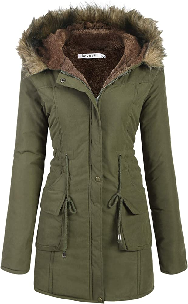 Womens Fur Collar Hooded Winter Coats Ladies Trench Parka Hoodies Outwear Jacket