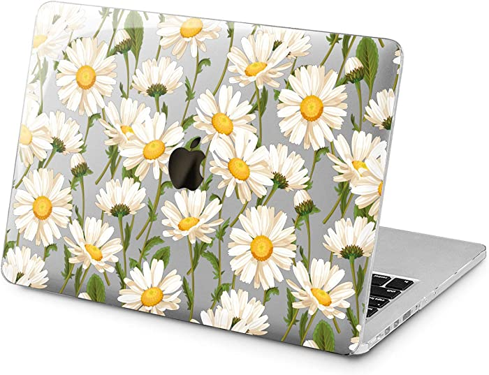 """Cavka Hard Shell Case for Apple MacBook Pro 13"""" 2019 15"""" 2018 Air 13"""" 2020 Retina 2015 Mac 11"""" Mac 12"""" Daisy White Flowers Cover Laptop Design Plastic Green Protective Print Nature Floral Pattern"""