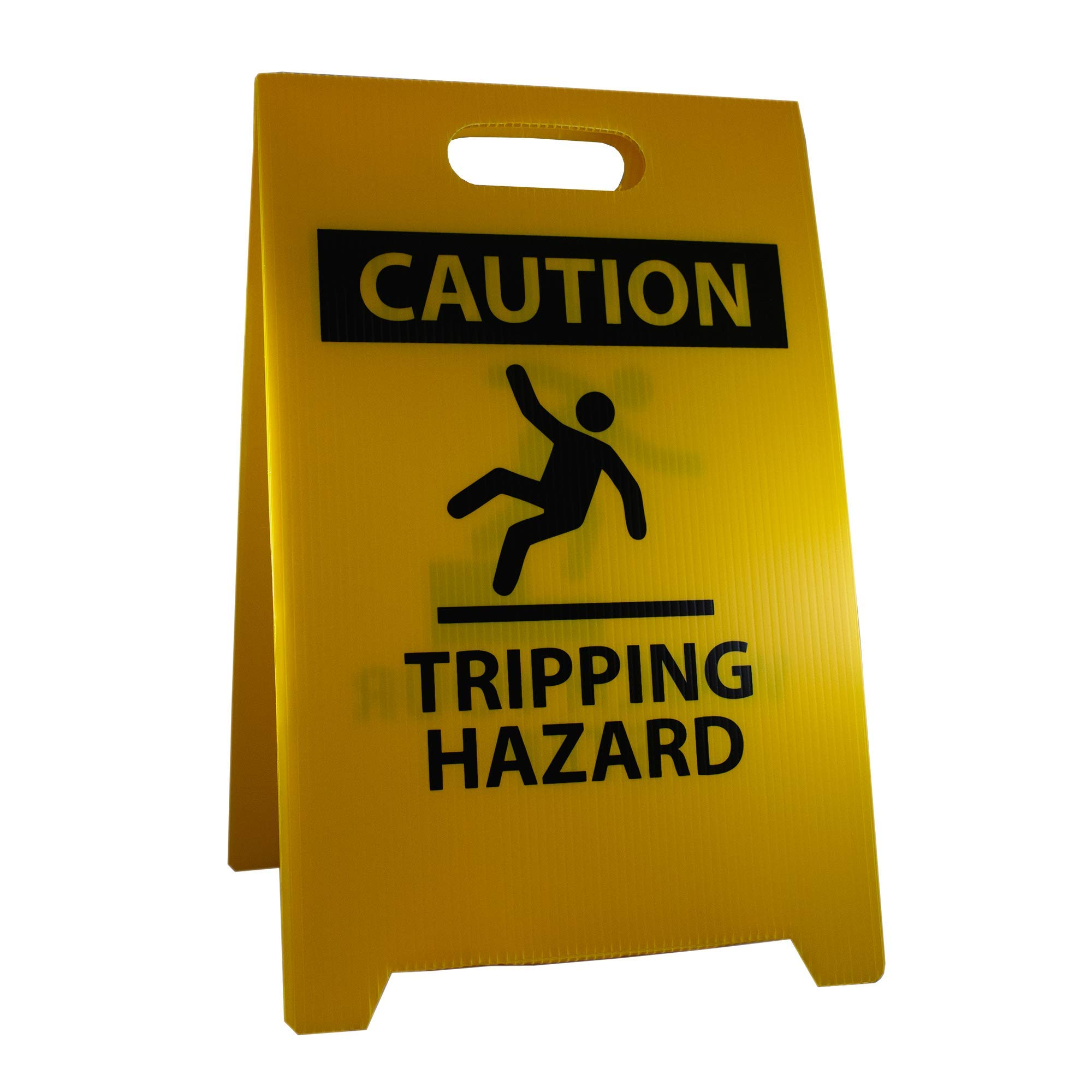 NMC FS36 Double Sided Floor Sign,''CAUTION TRIPPING HAZARD - WATCH YOUR STEPS'', 12'' Width x 20'' Height, Corrugated Polyethylene, Black on Yellow
