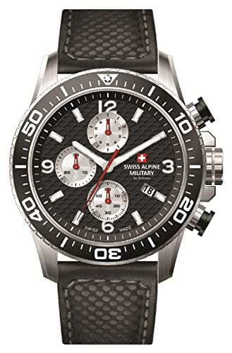 Swiss Alpine Military Red Force Chrono 7035.9537SAM Reloj Suizo Cronógrafo Acero Esfera Negra/Plata Correa Cuero Negra: Amazon.es: Relojes