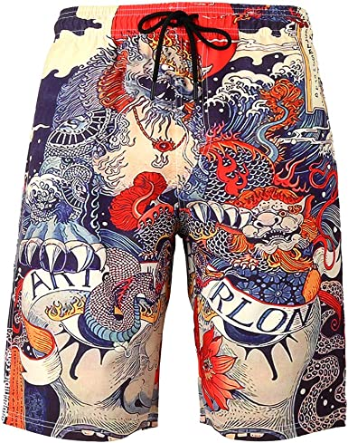 Big Wave Mens Beach Board Shorts Quick Dry Summer Casual Swimming Soft Fabric with Pocket