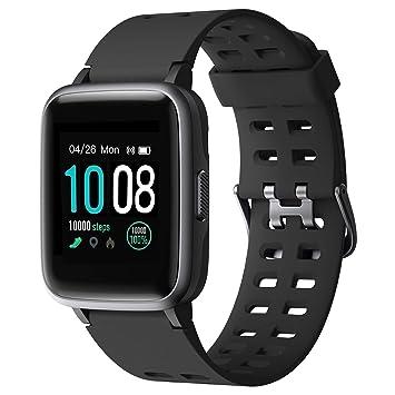 GRDE Montre Connectée Smartwatch, Bluetooth 5.0 Montre Sport Podomètre Moniteur de fréquence Cardiaque Sommeil SMS Appel 5ATM Imperméable Fitness ...
