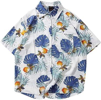 ACEBABY Camisas Hawaianas Hombre Camisa Blanca Hombre Tallas Grandes Moda Camisas Hombre Manga Corta Suelta Casual Fiesta Estilo Hawaiano Estampada en Botón Informal Playa Camisas: Amazon.es: Ropa y accesorios